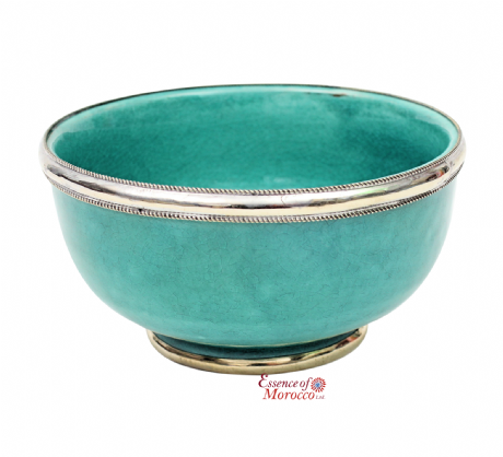 Moroccan Ceramic Bowl with Silver Edge. 12 cm Handmade in Morocco. (Jade Green)